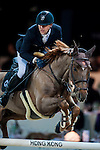 Simon Delestre of France riding Ryan des Hayettes competes at the HKJC Trophy during the Longines Hong Kong Masters 2015 at the AsiaWorld Expo on 13 February 2015 in Hong Kong, China. Photo by Xaume OIleros / Power Sport Images