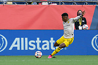 FOXBOROUGH, MA - MAY 16: Luis Diaz #12 Columbus SC takes a shot on the New England Revolution goal during a game between Columbus SC and New England Revolution at Gillette Stadium on May 16, 2021 in Foxborough, Massachusetts.