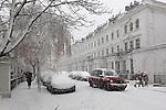 Great Britain, England, London: Snowy street in South Kensington | Grossbritannien, England, London, verschneite Strasse in South Kensington