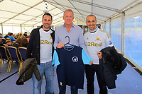 Pictured: Alan Curtis with the Italian designers of the new vintage collection of football tops. Saturday 13 October 2012<br /> Re: Swansea City FC family day out on the grounds of the Liberty Stadium, south Wales.