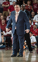NWA Democrat-Gazette/ANTHONY REYES • @NWATONYR<br /> Donnie Tyndall, Tennessee head coach, reacts to a fould against Arkansas in the second half Tuesday, Jan. 27, 2015 at Bud Walton Arena in Fayetteville. The Razorbacks won 69-64.