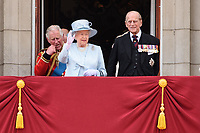 Prince Charles, Queen and Prince Phillip<br /> on the balcony of Buckingham Palace during Trooping the Colour on The Mall, London. <br /> <br /> <br /> ©Ash Knotek  D3283  17/06/2017