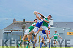 Tom Hoare Kerins O'Rahillys rises with Padraig Lucey and Cian Gammell Legion  during their SFC clash in Fitzgerald Stadium on Sunday