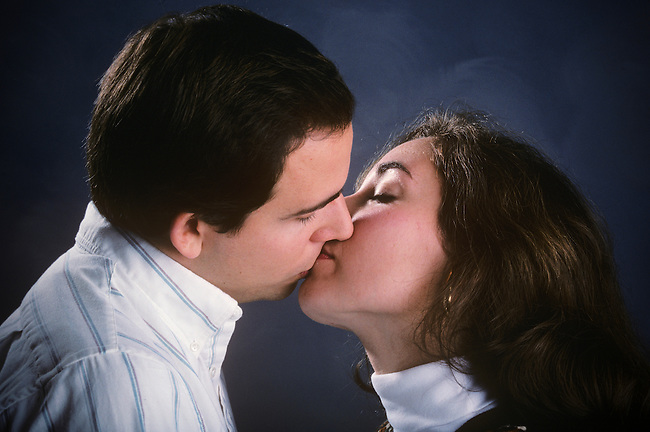 Model Released-Christopher Wessman and Ines Esteves. Close-up of Caucasian couple kissing. Pelham,  New York.