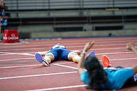 10th June 2021; Stadio Luigi Ridolfi, Florence, Tuscany, Italy; Muller Diamond League Grand Prix Athletics, Florence andRome; Jakob Ingebrigtsen lies on the floor in a heap after winning the 5000m