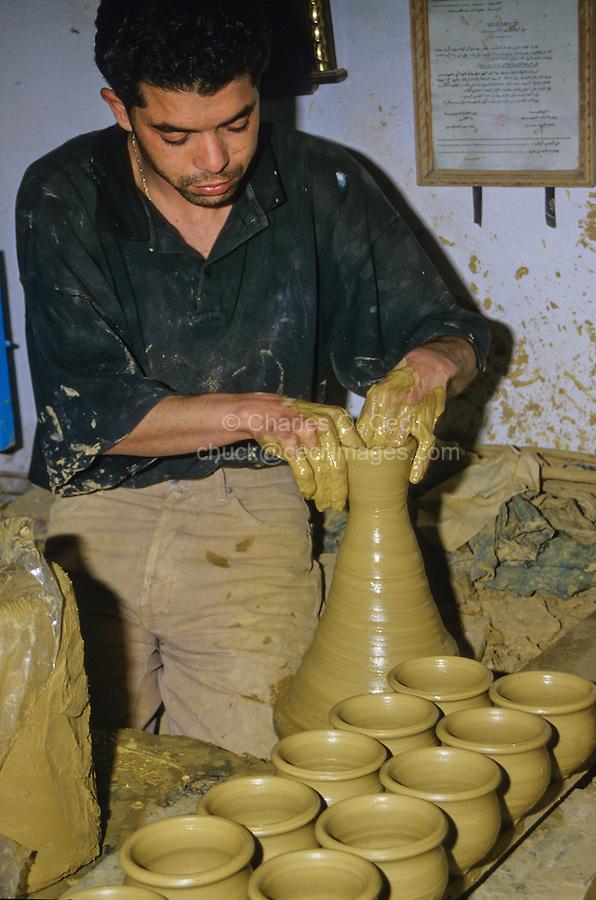 Ceramics, Nabeul, Tunisia.  Potter at Work.
