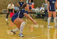 1 November 2015: Saint Joseph College Lady Bear and Outside Hitter Shannon Fahy, a Senior from Breezy Point, NY, bumps against the Yeshiva University Maccabees at SUNY Old Westbury in Old Westbury, NY. The Bears shut out the Maccabees 3-0 in NCAA women's volleyball, Skyline Conference play. Mandatory Credit: Ed Wolfstein Photo *** RAW (NEF) Image File Available ***