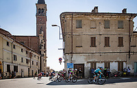 the breakaway group rolling through town<br /> <br /> 'La Primavera' (Spring) in summer!<br /> 111st Milano-Sanremo 2020 (1.UWT)<br /> 1 day race from Milano to Sanremo (305km)<br /> <br /> the postponed edition > exceptionally held in summer because of the Covid-19 pandemic calendar reshuffle