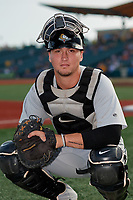 Tri-City ValleyCats catcher Korey Lee (35) poses for a photo before a NY-Penn League game against the Brooklyn Cyclones on August 17, 2019 at MCU Park in Brooklyn, New York.  The game was postponed due to inclement weather, Brooklyn defeated Tri-City 2-1 in the continuation of the game on August 18th.  (Mike Janes/Four Seam Images)
