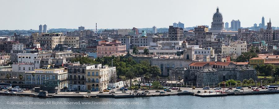 Part of Old Havana viewed from El Cristo statue across the harbor