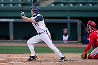 Left fielder Nathan Aide (29) of the Illinois Fighting Illini bats in a game against the Ohio State Buckeyes on Friday, March 5, 2021, at Fluor Field at the West End in Greenville, South Carolina. The Ohio State catcher is Brent Todys. (Tom Priddy/Four Seam Images)