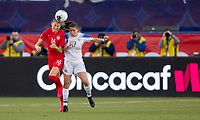 CARSON, CA - FEBRUARY 07: Janine Beckie #16 of Canada and Maria Paula Salas #17 of Costa Rica battle for a headball during a game between Canada and Costa Rica at Dignity Health Sports Park on February 07, 2020 in Carson, California.