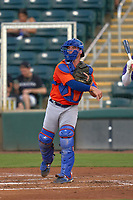 St. Lucie Mets catcher Matt O'Neill (5) throws the ball around after a strikeout during a game against the Fort Myers Mighty Mussels on June 3, 2021 at Hammond Stadium in Fort Myers, Florida.  (Mike Janes/Four Seam Images)