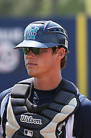 UNC-Wilmington catcher Cody Stanley #8 walks from the bullpen before a   game vs. the George Mason University Patriots at Brooks Field in Wilmington, North Carolina on April 4, 2010. UNCW won the game 5-4.  Photo By Robert Gurganus/Four Seam Images