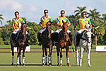 WELLINGTON, FL - NOVEMBER 25:  Brazil National Anthem. Team Brazil.  At the USPA International Cup at the Grand Champions Polo Club, on November 25, 2017 in Wellington, Florida. (Photo by Liz Lamont/Eclipse Sportswire/Getty Images)