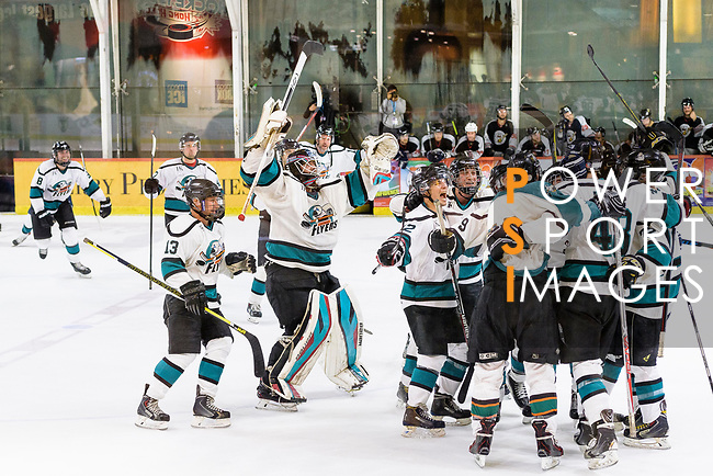 Cathay Flyers squad invades the ring after winning the Mega Ice Hockey 5s International Elite Final match between Nordic Vikings and Cathay Flyers on May 05, 2018 in Hong Kong, Hong Kong. Photo by Marcio Rodrigo Machado / Power Sport Images