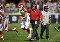 Arkansas head coach Sam Pittman reacts, Saturday, October 9, 2021 during the third quarter of a football game at Vaught Hemingway Stadium in Oxford, Miss. Check out nwaonline.com/211010Daily/ for today's photo gallery. <br /> (NWA Democrat-Gazette/Charlie Kaijo)