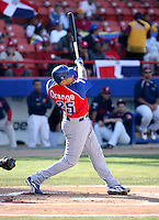 Ronny Paulino / Dominican Republic hits a homerun in the first inning of the Day 4 game against Venezuela - 2009 Caribbean Series, Mexicali..Photo by:  Bill Mitchell/Four Seam Images