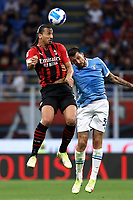 Zlatan Ibrahimovic of AC Milan and Francesco Acerbi of SS Lazio compete for the ball during the Serie A 2021/2022 football match between AC Milan and SS Lazio at Giuseppe Meazza stadium in Milano (Italy), August 29th, 2021. Photo Image Sport / Insidefoto