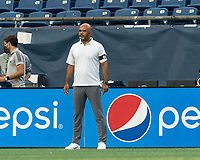 FOXBOROUGH, MA - AUGUST 7: New England Revolution II coach Clint Peay during a game between Orlando City B and New England Revolution II at Gillette Stadium on August 7, 2020 in Foxborough, Massachusetts.