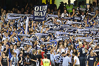 MELBOURNE, AUSTRALIA - FEBRUARY 18, 2010: Melbourne Victory fans celebrate a goal in the first leg of the A-League Major Semi Final match between the Melbourne Victory and Sydney FC at Etihad Stadium on February 18, 2010 in Melbourne, Australia. Photo Sydney Low www.syd-low.com