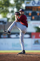 Mahoning Valley Scrappers pitcher Casey Shane (34) delivers a pitch during a game against the Batavia Muckdogs on June 24, 2015 at Dwyer Stadium in Batavia, New York.  Batavia defeated Mahoning Valley 1-0 as three Muckdogs pitchers combined to throw a perfect game.  (Mike Janes/Four Seam Images)