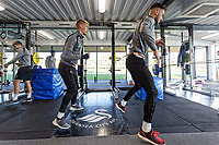 (L-R) Jay Fulton and Matt Grimes exercise in the gym during the Swansea City Training at the Fairwood Training Ground, Swansea, Wales, UK. Thursday 22 November 2018