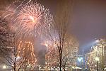Boston Family Fireworks on New Years Eve in Boston Common, Boston, MA, USA