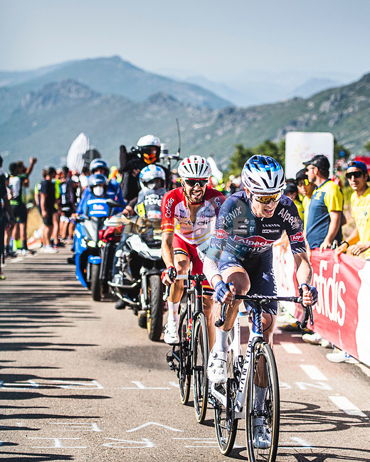 Jay Vine (AUS) Alpecin-Fenix and Jesus Herrada (ESP) Cofidis from the breakaway during Stage 14 of La Vuelta d'Espana 2021, running 165.7km from Don Benito to Pico Villuercas, Spain. 28th August 2021.     <br /> Picture: Unipublic/Charly Lopez | Cyclefile<br /> <br /> All photos usage must carry mandatory copyright credit (© Cyclefile | Charly Lopez/Unipublic)
