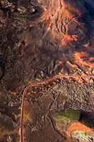 France, île de la Réunion, Parc national de La Réunion, classé Patrimoine Mondial de l'UNESCO, volcan Piton de la Fournaise, route de la Plaine des Sables (vue aérienne)  //  France, Reunion island (French overseas department), Parc National de La Reunion (Reunion National Park), listed as World Heritage by UNESCO, Piton de la Fournaise volcano, road of Plaine des Sables (aerial view)