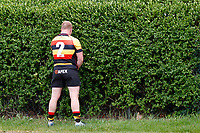 Ellins of of Richmond Rugby relieves himself before kick off during the Greene King IPA Championship match between London Scottish Football Club and Richmond at Richmond Athletic Ground, Richmond, United Kingdom on 27 April 2019. Photo by Carlton Myrie.