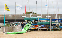 BNPS.co.uk (01202) 558833. <br /> Pic: BNPS<br /> <br /> Pictured: Watersports facilities by the beach at Rockley Point in Poole Harbour, Dorset. <br /> <br /> There are fresh calls for a holiday park to increase safety measures at a notorious beach where one swimmer has drowned and almost 20 children rescued this summer. <br /> <br /> In the latest incident a dad and his two young sons were plucked to safety in the nick of time after they were swept away by a rip tide at Rockley Park in Poole Harbour, Dorset.<br /> <br /> It happened a month after hero swimmer Callum Baker-Osborne, 18, drowned while helping to rescue 13 children at the same spot.<br /> <br /> And before that two young girls were saved from drowning by a paddleboarder.