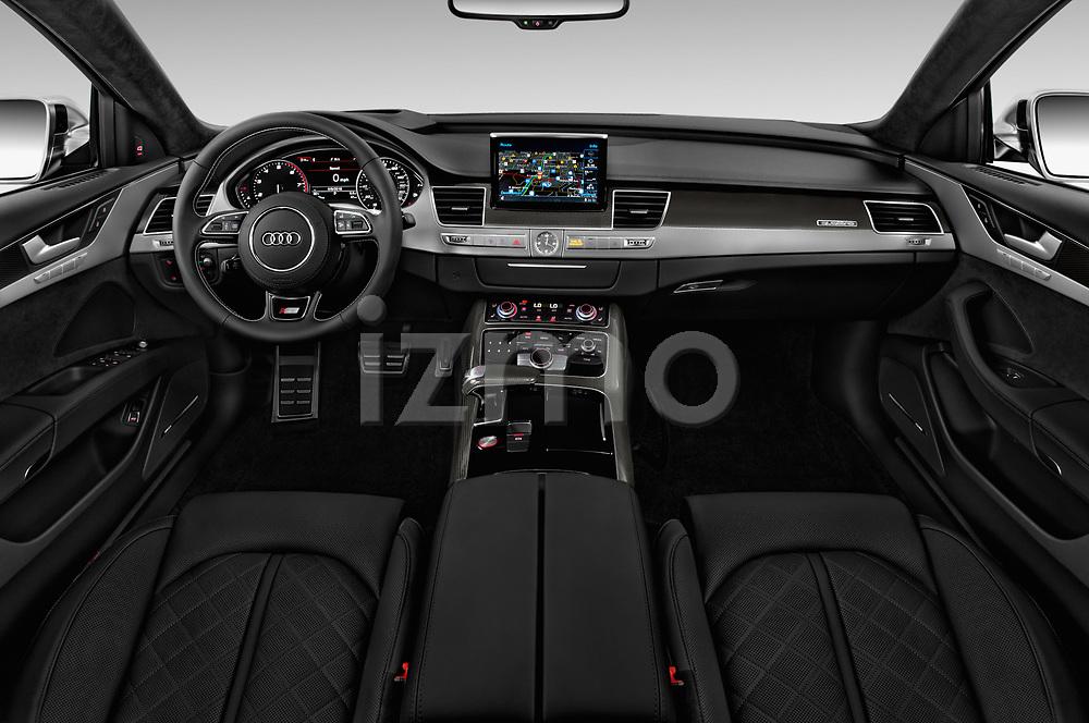 Stock photo of straight dashboard view of 2018 Audi S8 4.0-TFSI-quattro-Tiptronic-Plus  4 Door Sedan