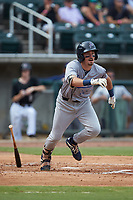 Jordan Gore (10) of the Pensacola Blue Wahoos follows through on his swing against the Birmingham Barons at Regions Field on July 7, 2019 in Birmingham, Alabama. The Barons defeated the Blue Wahoos 6-5 in 10 innings. (Brian Westerholt/Four Seam Images)