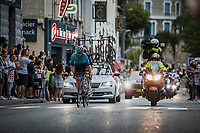 Hugo Houle (CAN/Astana-Premier Tech) and Tosh van der Sande (BEL/Lotto Soudal) in the early breakaway<br /> <br /> Stage 10 from Albertville to Valence (190.7km)<br /> 108th Tour de France 2021 (2.UWT)<br /> <br /> ©kramon