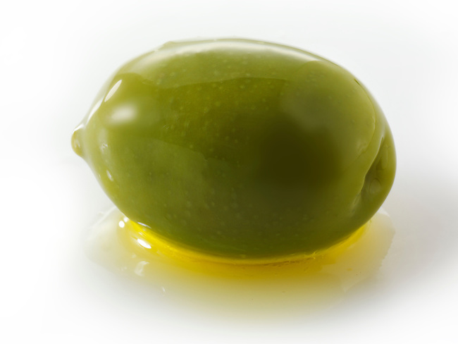 Whole green Queen olives