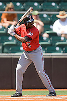 Outfielder Barrett Barnes #8 of the Texas Tech Red Raiders at bat against the Texas Longhorns on April 17, 2011 at UFCU Disch-Falk Field in Austin, Texas. (Photo by Andrew Woolley / Four Seam Images)