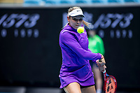 13th February 2021, Melbourne, Victoria, Australia; Donna Vekic of Croatia returns the ball during round 3 of the 2021 Australian Open on February 13 2020, at Melbourne Park in Melbourne, Australia.