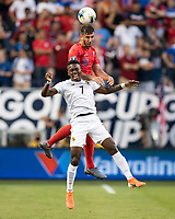 KANSAS CITY, KS - JUNE 26: Jose Rodriguez #7 and Matt Miazga #19 go up for a header during a game between United States and Panama at Children's Mercy Park on June 26, 2019 in Kansas City, Kansas.