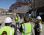 April 22, 2021— Construction continues at the 11,000 seat Summit Arena at the Monument as shown during a media tour in Rapid City, S.D. Pictured is Rushmore Plaza Civic Center Executive Director Craig Baltzer speaking with media. Completion is expected by October 1. (Photo by Richard Carlson/Inertia)