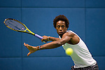 SHANGHAI, CHINA - OCTOBER 13:  Gael Monfils of France returns a ball to Benjamin Becker of Germany during day three of the 2010 Shanghai Rolex Masters at the Shanghai Qi Zhong Tennis Center on October 13, 2010 in Shanghai, China.  (Photo by Victor Fraile/The Power of Sport Images) *** Local Caption *** Gael Monfils