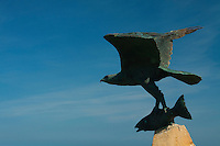 Osprey and Salmon sculpture, Spey Bay, Moray