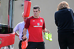 Real Madrid signing Gareth Bale arriving at  training with the Wales Football squad at the Vale Resort near Cardiff today.  Manager Chris Coleman confirmed that he will travel to Macedonia for Friday's World Cup qualifier.