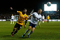Padraig Amond of Newport County challenges Kieran Trippier of Tottenham Hotspur during the Fly Emirates FA Cup Fourth Round match between Newport County and Tottenham Hotspur at Rodney Parade, Newport, Wales, UK. Saturday 27 January 2018