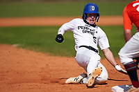 Michael Lavanga (5) slides into third base during the Perfect Game National Underclass East Showcase on January 23, 2021 at Baseball City in St. Petersburg, Florida.  (Mike Janes/Four Seam Images)