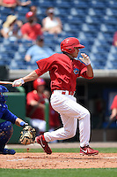 Clearwater Threshers outfielder Peter Lavin (2) during a game against the Dunedin Blue Jays on April 6, 2014 at Bright House Field in Clearwater, Florida.  Dunedin defeated Clearwater 5-2.  (Mike Janes/Four Seam Images)