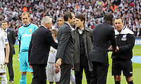 Pictured:  Swansea team players and manager Michael Laudrup greeting the Dignitaries. Sunday 24 February 2013<br /> Re: Capital One Cup football final, Swansea v Bradford at the Wembley Stadium in London.