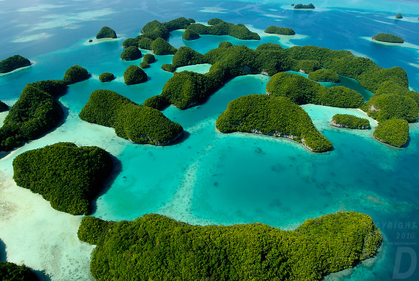 Aerials over the 70 islands in Palau Micronesia