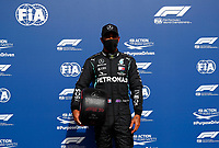 29th August 2020, Spa Francorhamps, Belgium, F1 Grand Prix of Belgium , qualification;   44 Lewis Hamilton GBR, Mercedes-AMG Petronas Formula One Team take pole trophy
