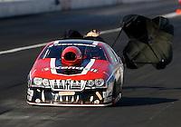 Nov 9, 2013; Pomona, CA, USA; NHRA pro stock driver V. Gaines during qualifying for the Auto Club Finals at Auto Club Raceway at Pomona. Mandatory Credit: Mark J. Rebilas-